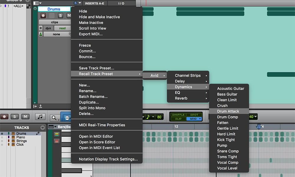 Build Sessions Track Presets In Pro Tools