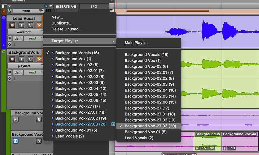 Target Playlist in Pro Tools