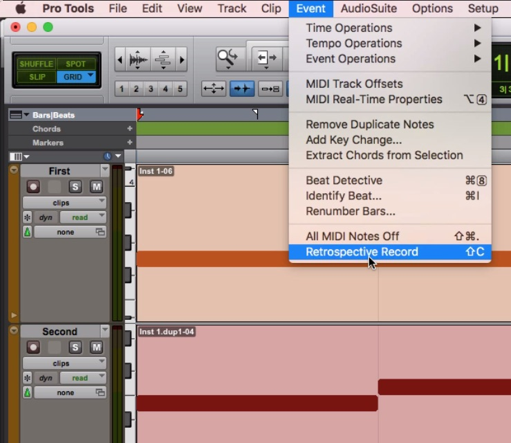 Retrospective Record in Pro Tools 2018