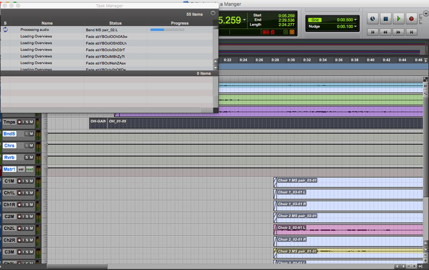Pro Tools 10 loading a session with Sound Designer 2 files and converting them to WAV files