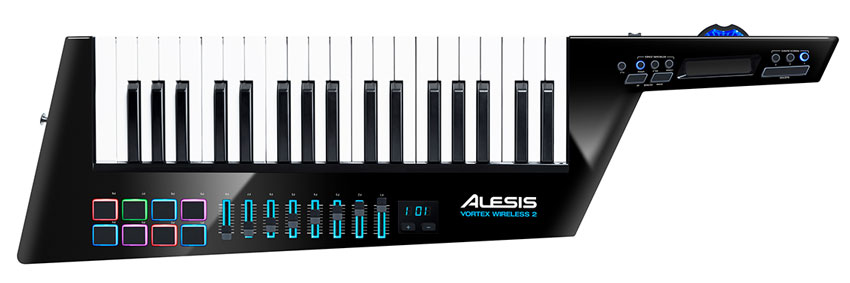 Alesis' new Vortex Wireless 2, a wireless keytar MIDI controller with generous expressive options and easy programability.