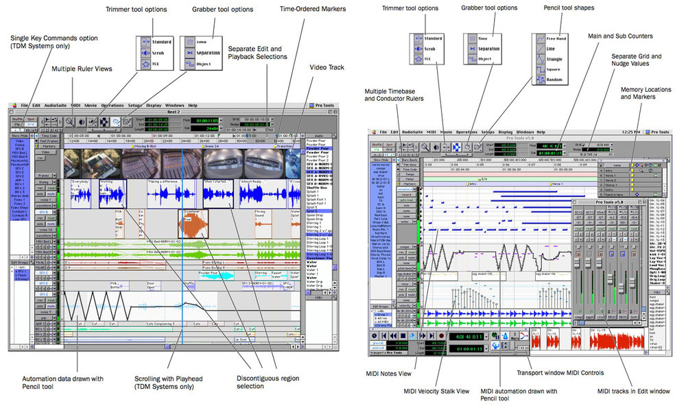 Digidesign Pro Tools V5.0 Features Diagram - Click on the image to see a larger version.