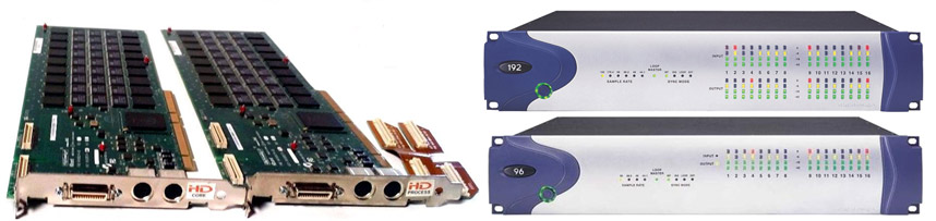 Pro Tools HD Core and Process cards, 192 and 96 interfaces