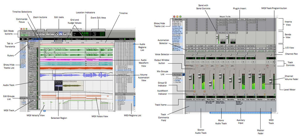 Digidesign Pro Tools V6.0 What's New Edit and Mix Windows - Click image to see a larger version.