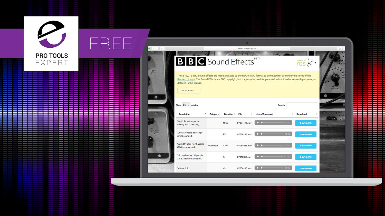 Download 16,000 Free Sound Effects From BBC Sample Archive