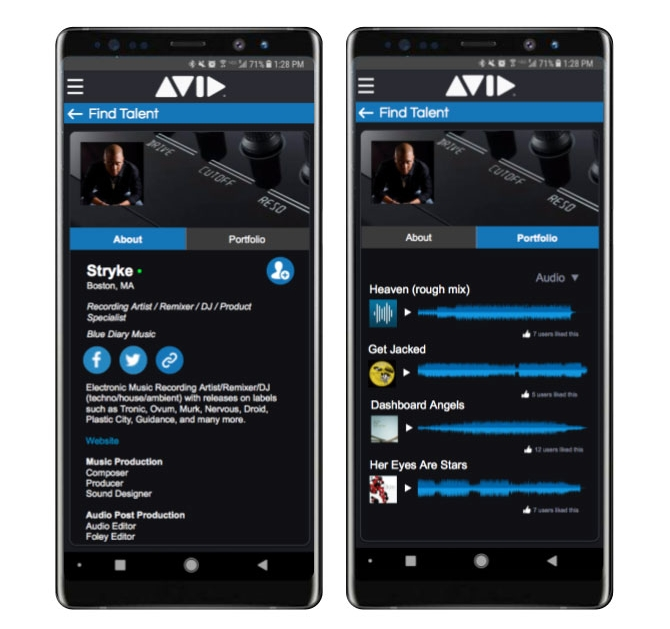 Avid Connect app - Find Talent