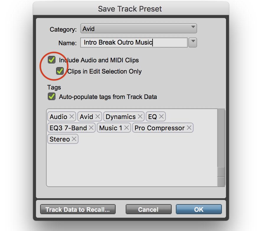 Pro Tools Track Preset Media Options