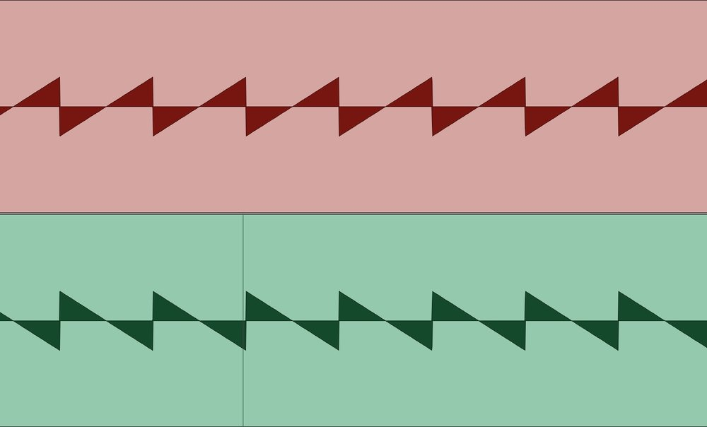 Although its not the familiar sine wave (sine waves contain no harmonics so can't be used in these examples) this green sawtooth wave has had its polarity inverted and is 180 degrees out of phase with the red sawtooth wave.