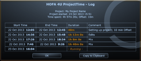 Logging in ProjectTime