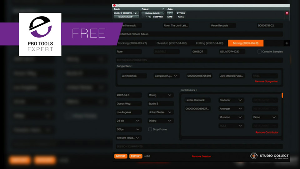 Friday Free Plug-in - Studio Collect Metadata Plug-in From Veva Sound