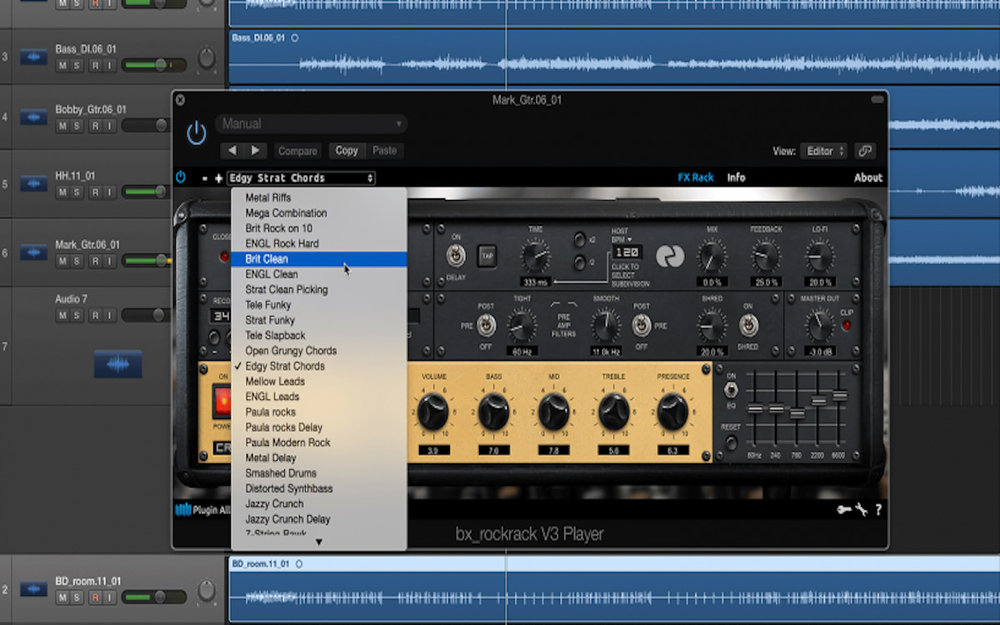a screenshot of bx_rockrack V3 Player in Logic Pro X - a free guitar amp plugin for Mac