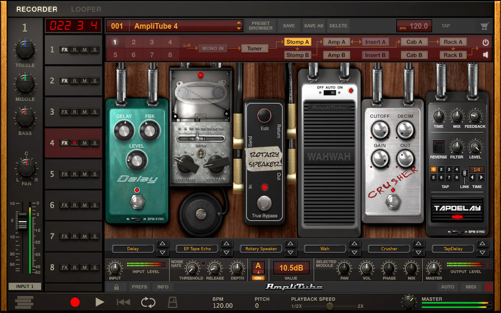 a screenshot of the IK Multimedia AmpliTube 4 standalone application