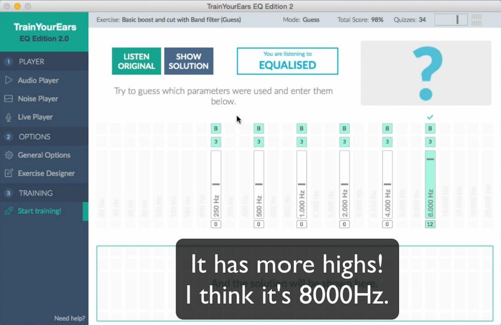 a screenshot of the TrainYourEars EQ 2.0 eq ear training application on mac