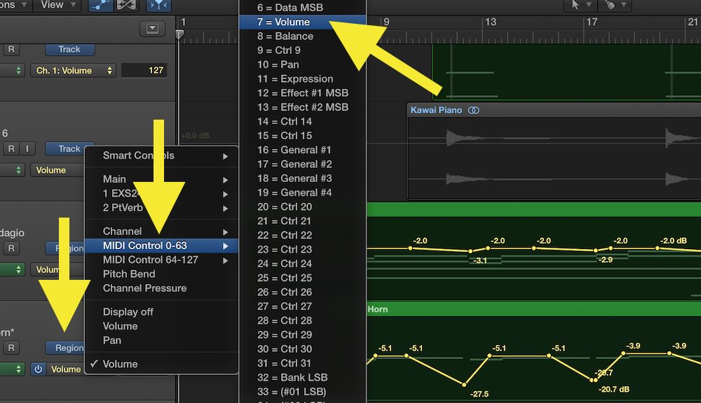 a picture of MIDI Control Change numbers in Logic Pro X