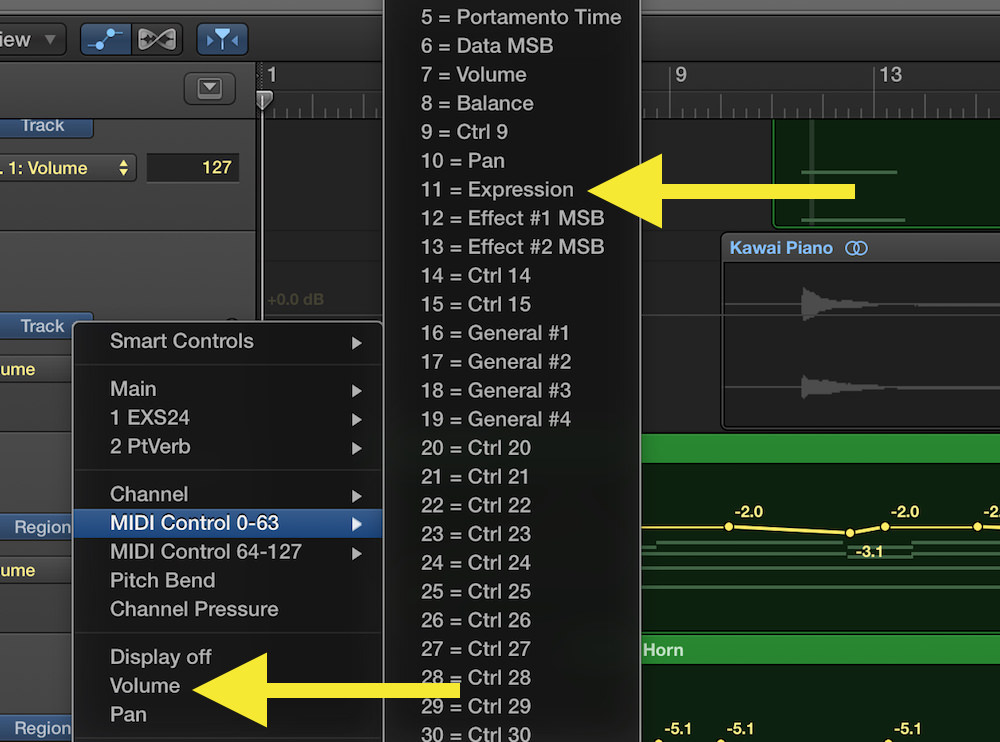 a picture of converting volume data in logic pro x