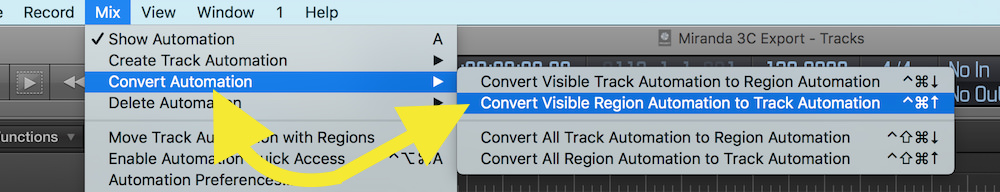 converting visible region automation to track automation in logic pro x