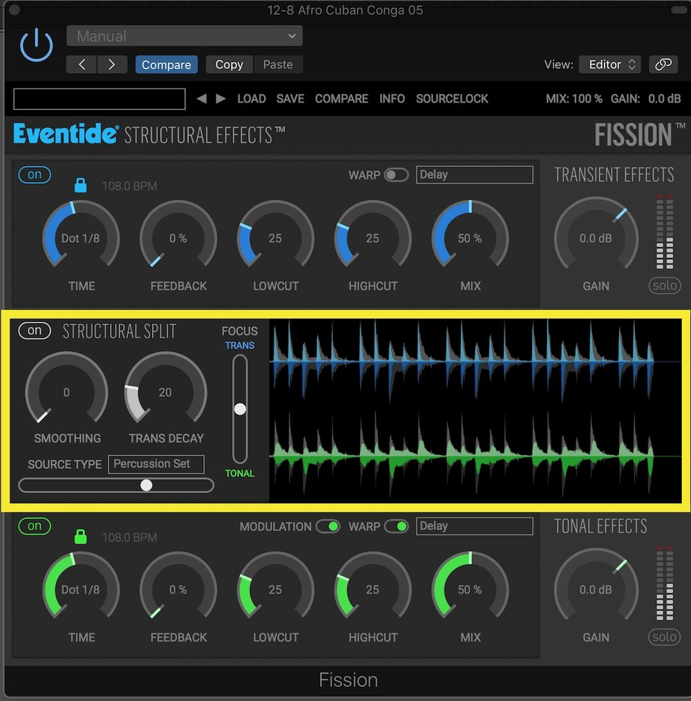 Eventide Fission User Interface Structural Split Section