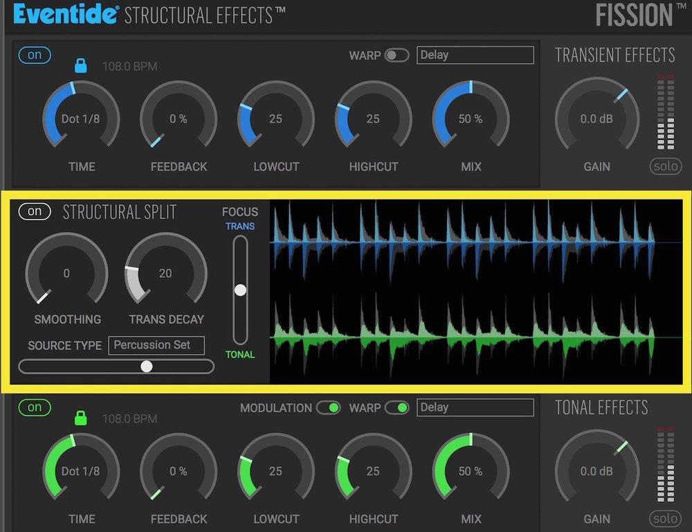 a screenshot of the Eventide Fission plugin