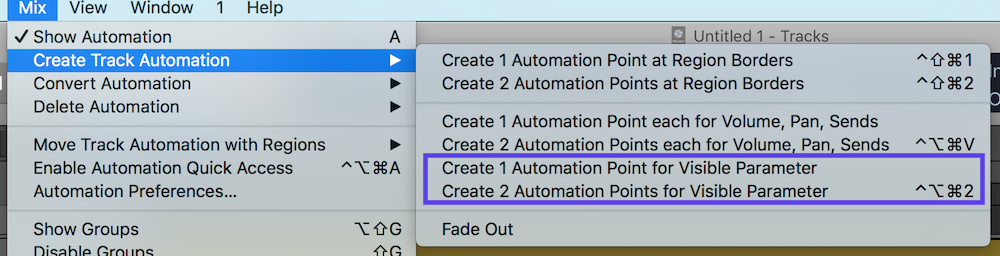Automation Selection Logic Pro X 04 create automation nodes