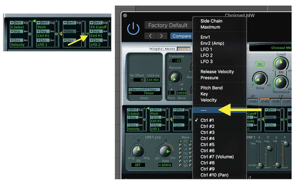 Secondary Modulation with EXS 24 02 Remove mod wheel routing