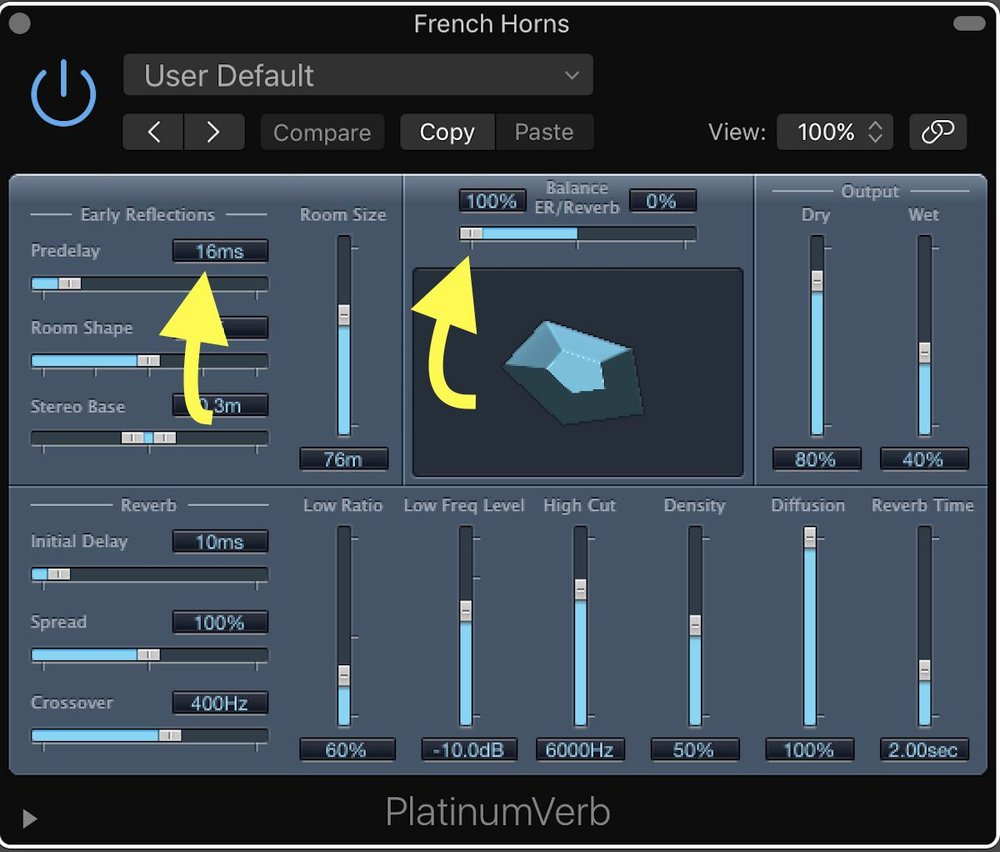 Tutorial – Tips for Using Logic Pro X's Orchestral Sounds 09 ER and Predelay