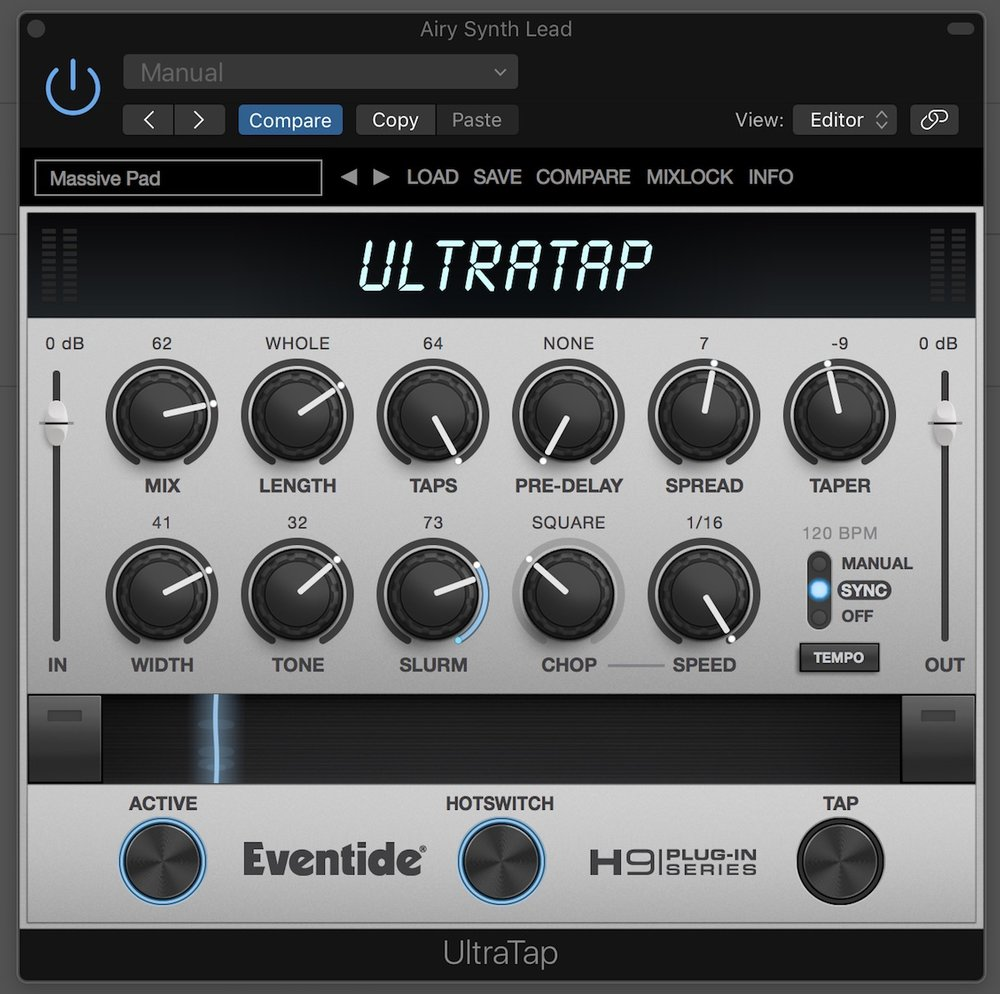 eventide ultratap user interface