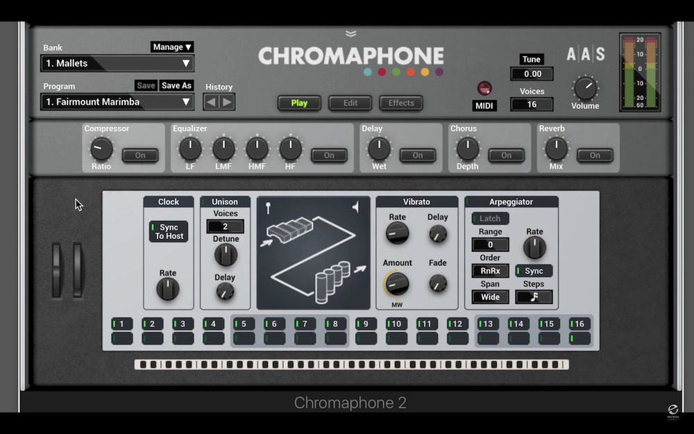 a screenshot of the AAS Chromaphone 2 user interface