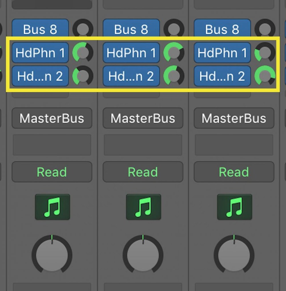 This image shows one of the steps involved in how to make a headphone mix on the Universal Audio Apollo 8p audio interface in Logic Pro X