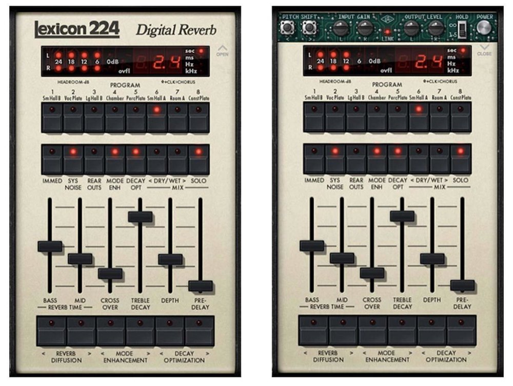 a screenshot of the universal audio lexicon 224 reverb plugin