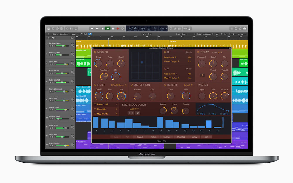 a picture of a macbook pro running logic pro x 10.4