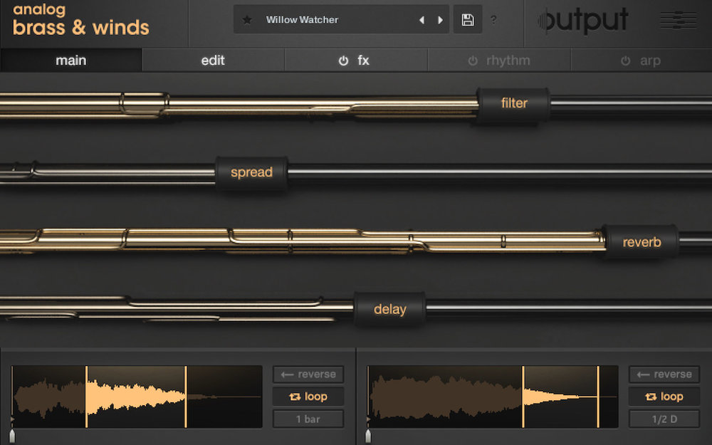 a screenshot of output's new analog brass & winds instrument for Kontakt