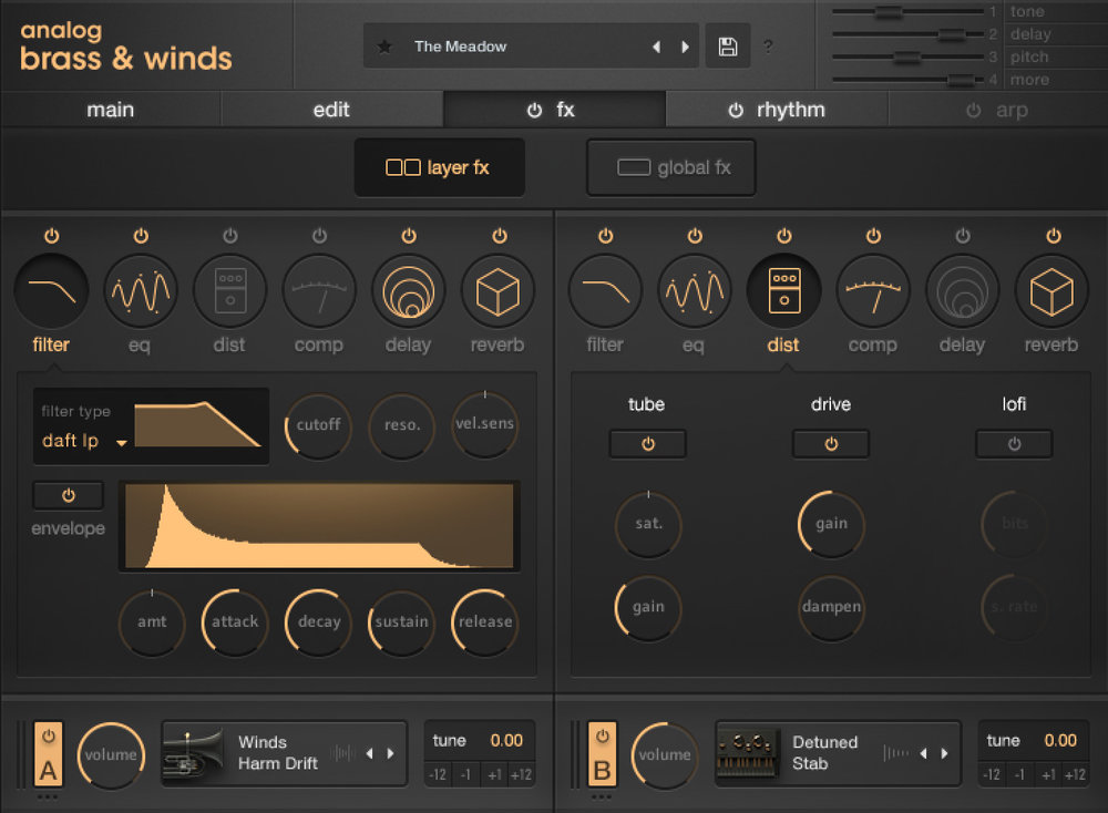 another screenshot of analog brass & winds by output sounds