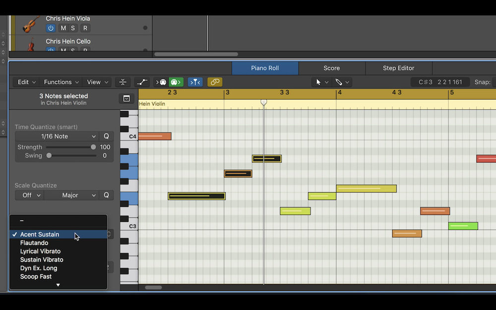 a picture of the articulation ID options in the Piano Roll Editor in Logic Pro X