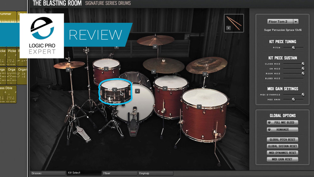 a screenshot of the Blasting Room Signature Series Drums drum sample library for Kontakt, used in Logic Pro X.