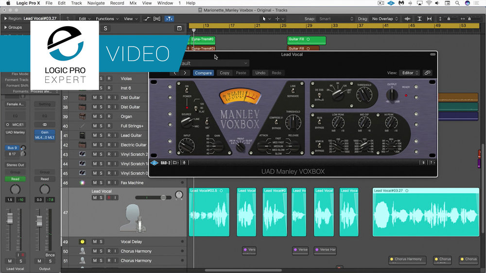 a screenshot of the Universal Audio Manley VoxBox channel strip plugin in Logic Pro X