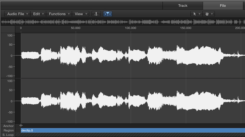 a waveform of a distorted vocal in logic pro x