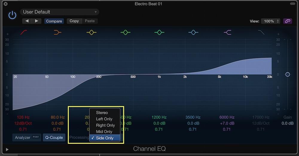 logic pro x channel eq mid side processing