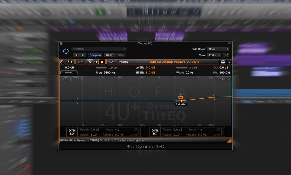 a screenshot of the hofa free tilt eq plugin in logic pro x