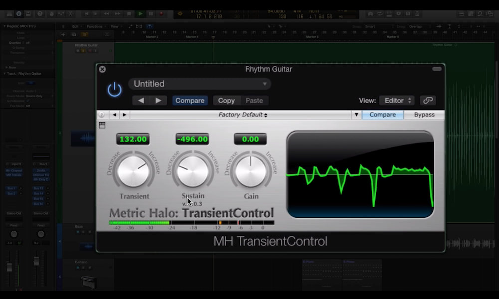 a screenshot of the metric halo transient control plugin in logic pro x