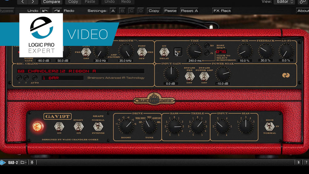 a screenshot of the Universal Audio Chandler Limited GAV19T guitar amp plugin in Logic Pro X