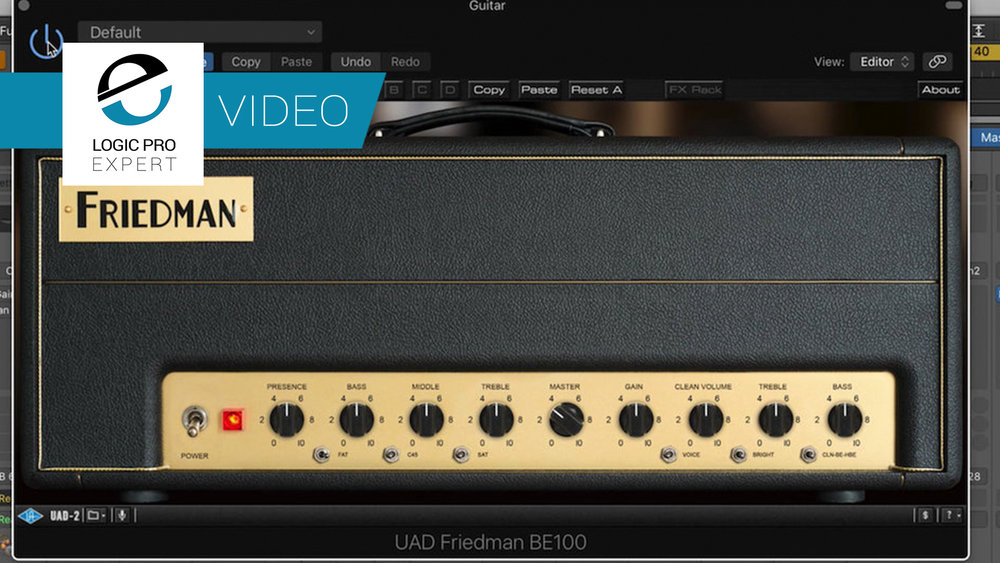 a screenshot of the Universal Audio Friedman BE 100 guitar plugin in Apple Logic Pro X
