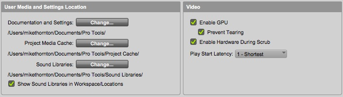 Pro Tools Ultimate User Media and Settings Location Preference setting