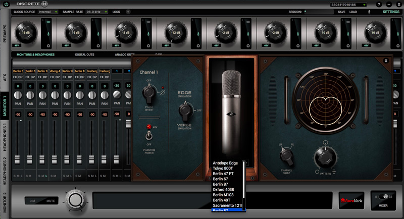Antelope Audio Edge Modelled Mic Selection In Discrete 8 Control Panel