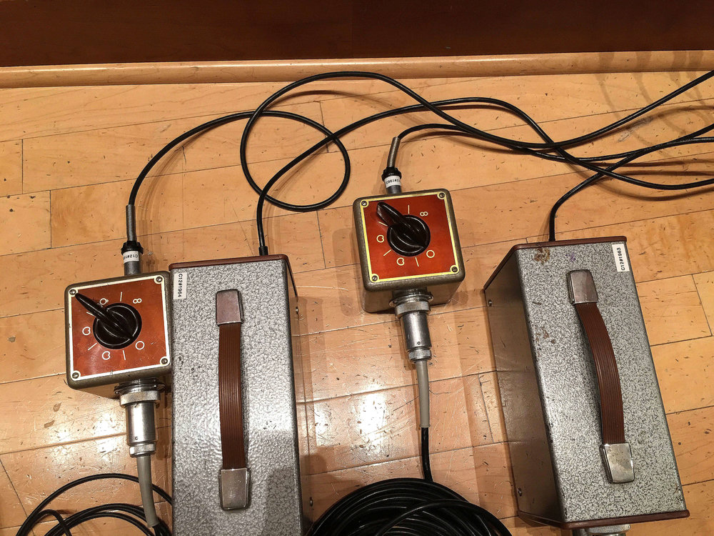 Power supplies and pattern switchers for the three C12 close mics