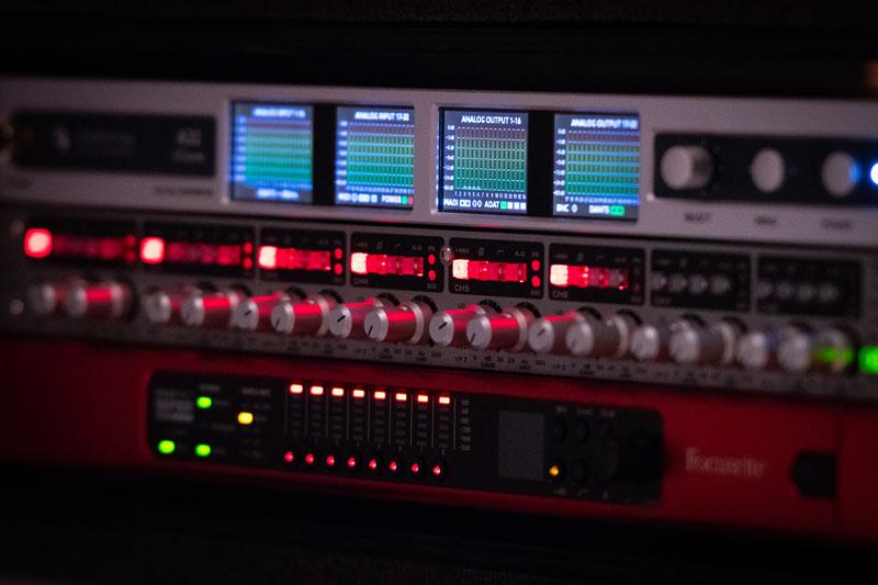 Ferrofish A32 Dante AD / DA Converter In The Stage Recording Rack With Audient ASP 880 & Focusrite MP8R