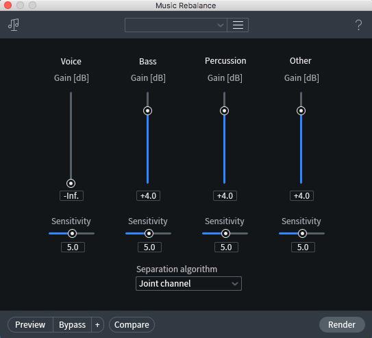 iZotope RX 7 Music Rebalance Module