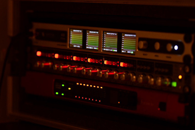 The stage recording rack containing a Ferrofish A32 Dante, Audient ASP880 & Focusrite MP8R