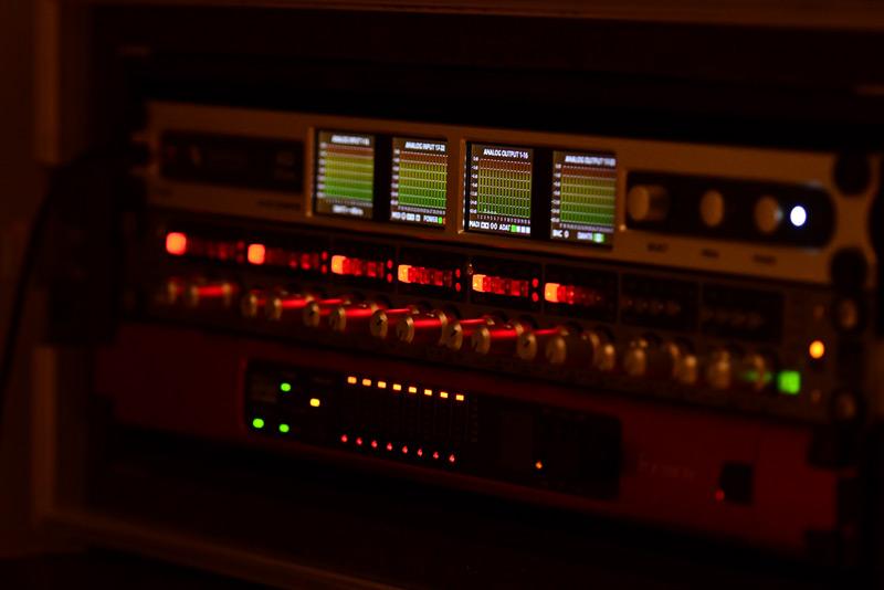 The stage recording rack containing a Ferrofish A32 Dante, Audient ASP880 & Focusrite MP8R