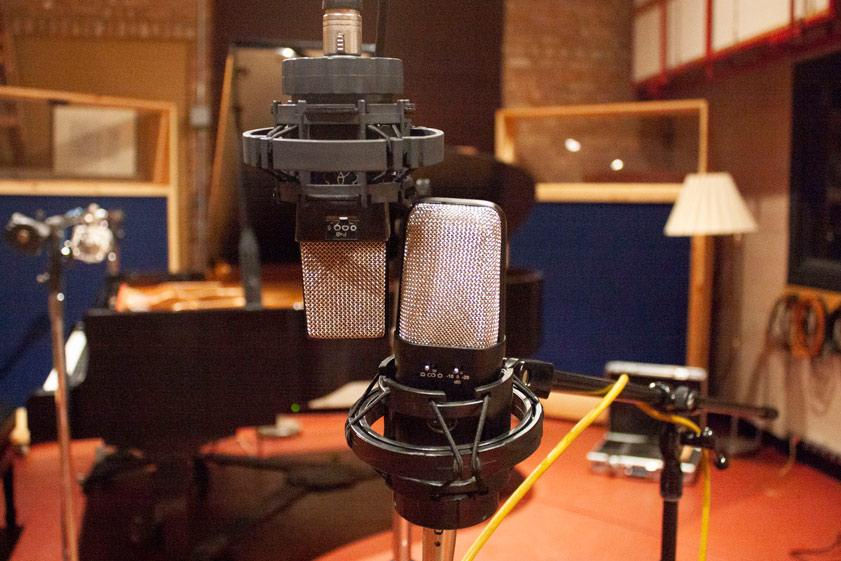AKG C414 EB P48 on the left and Warm Audio WA-14 on the right