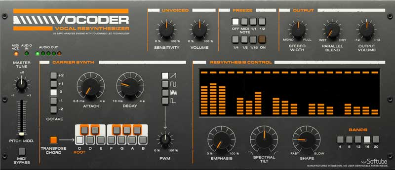 The new Softube Vocoder Plug-In for UAD-2 platform and Apollo Interfaces.